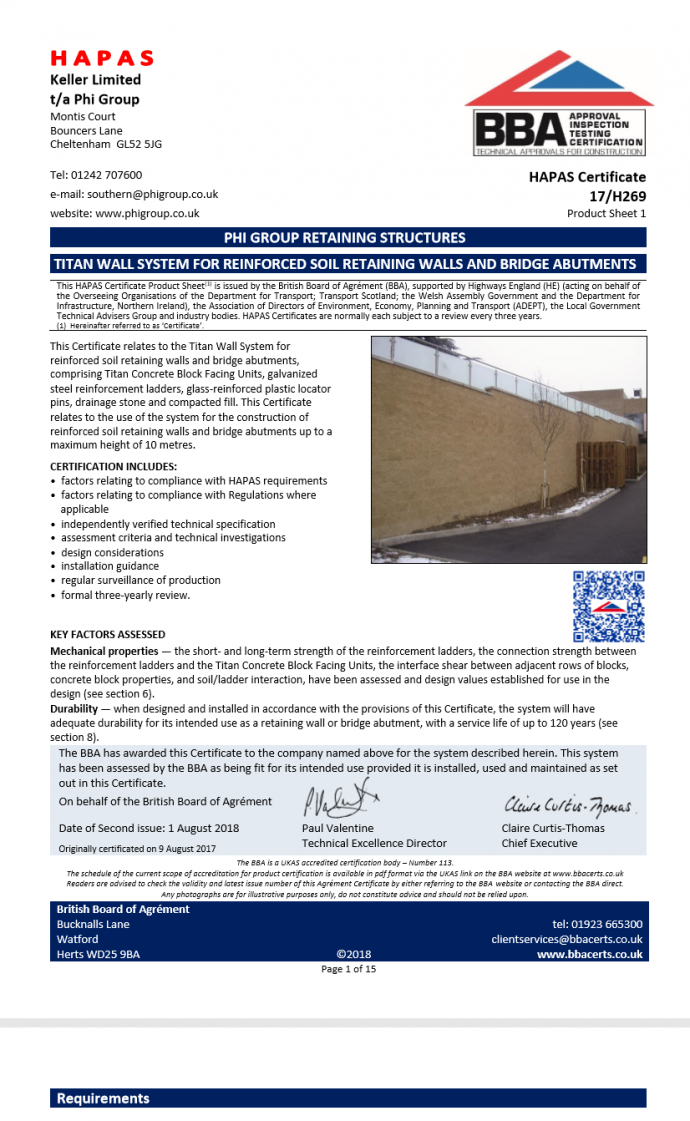 Titan modular block faced reinforced soil BBA certficiate